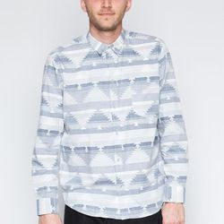 """Cheap Monday - Neo Button Up, <a href=""""https://www.shopwasteland.com/mens-new-shirts-tees/Cheap-Monday/Neo-Button-Up/0245217/"""">$75</a>."""