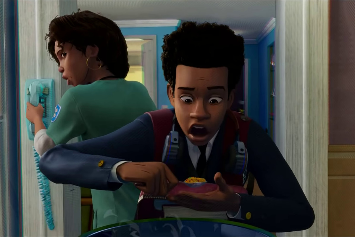 Miles Morales sneaking some rice as he gets ready in the morning in Spider-Man: Into the Spider-Verse