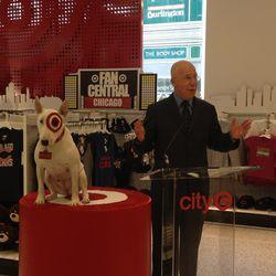 Bullseye the Bull Terrier and Chicago Deputy Mayor Mark Angelson