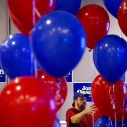 Paul Teal positions balloons as he prepares for the election night party of Democratic candidate for 6th congressional district Jon Ossoff in Atlanta, Tuesday, June 20, 2017. The most expensive House race in U.S. history heads to voters Tuesday in suburban Atlanta. Either Republican Karen Handel will claim a seat that's been in her party's hands since 1979 or Democrat Jon Ossoff will manage an upset that will rattle Washington ahead of the 2018 midterm elections.