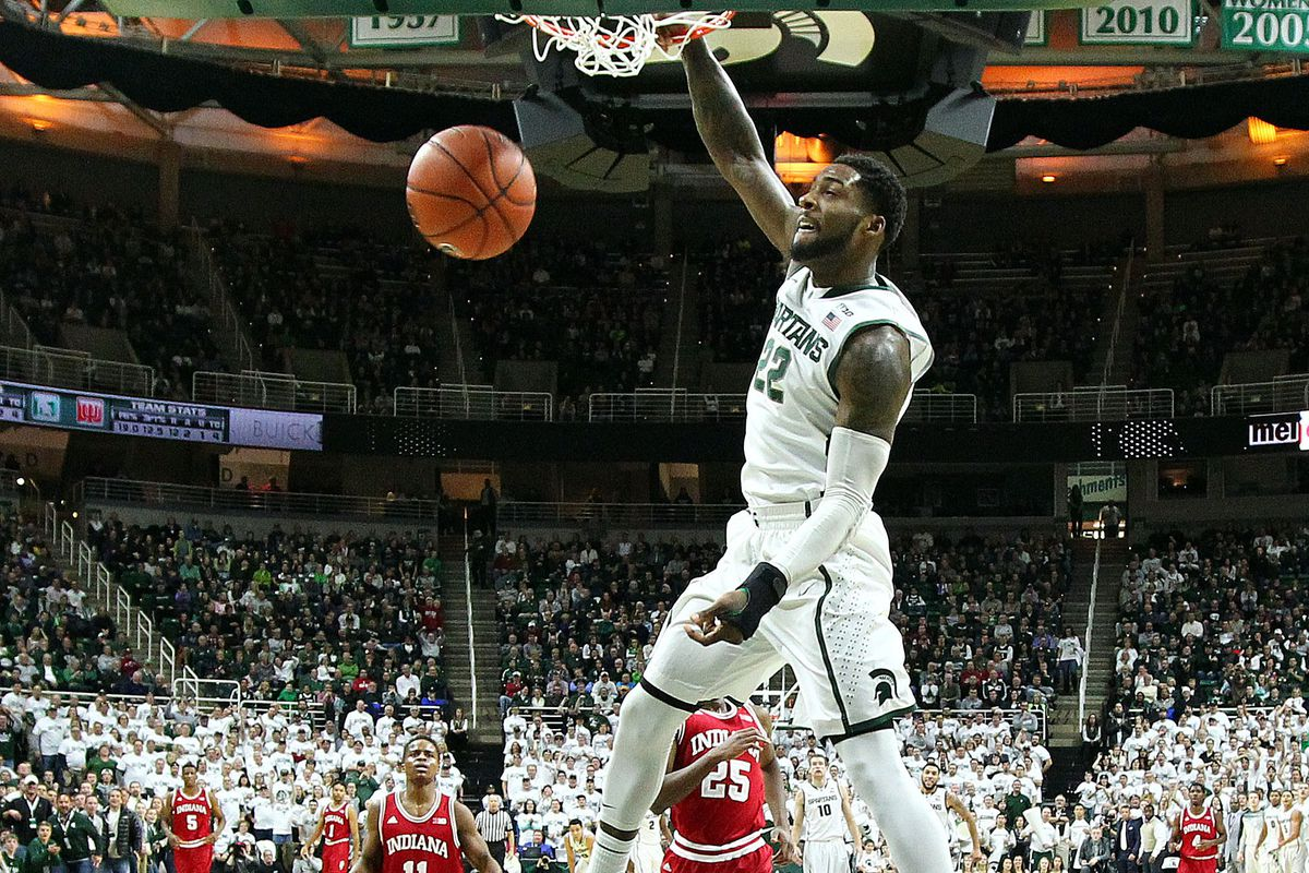 Branden Dawson of Michigan St. throws down a dunk against Indiana in a 70-50 rout.