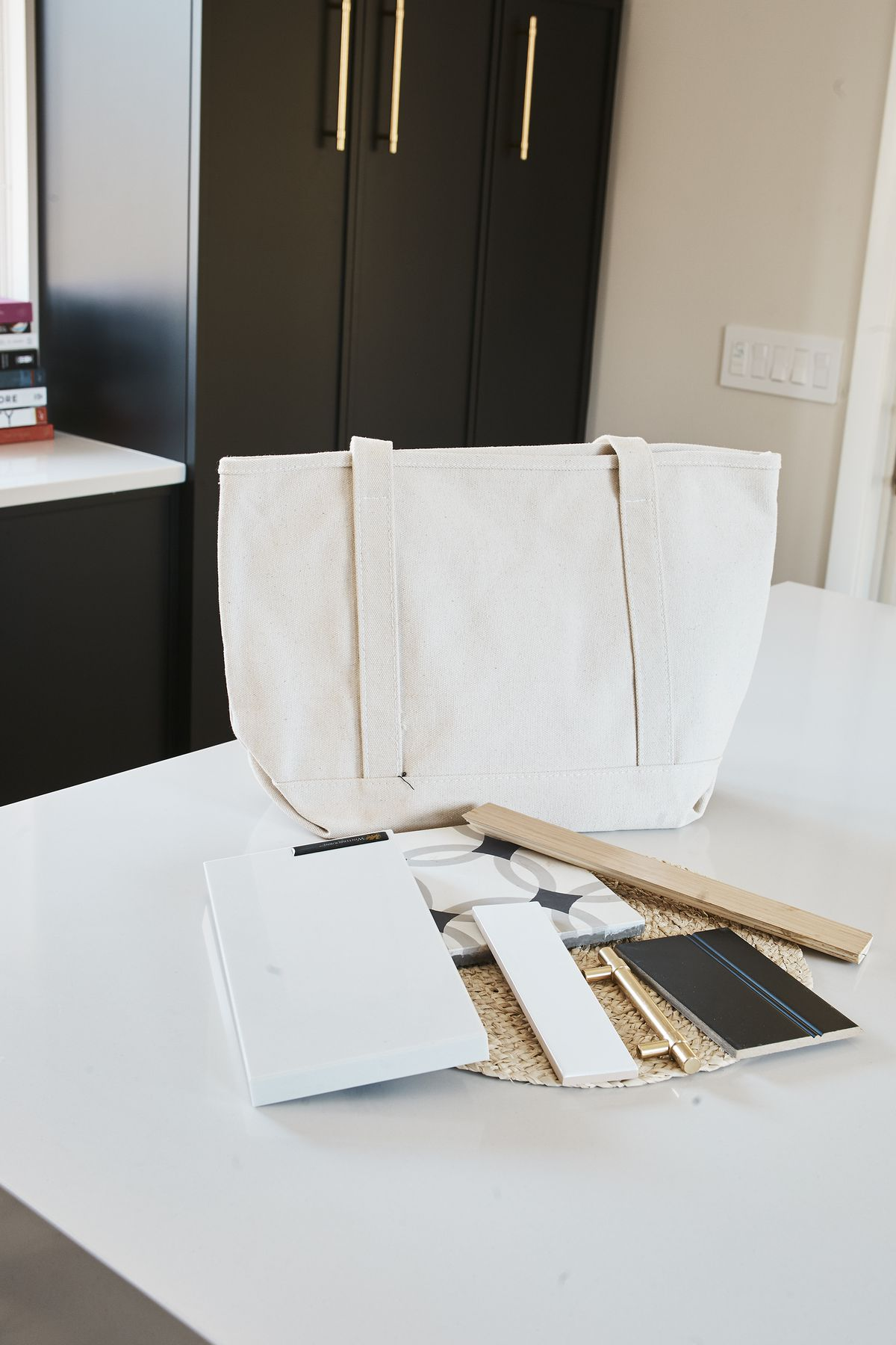 Kitchen renovation samples and bag
