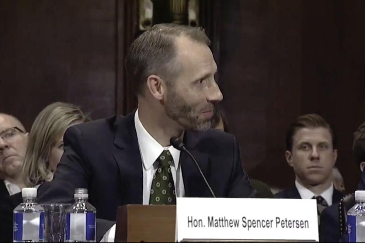 Matthew S. Petersen during a Senate Judiciary Committee hearing on Dec. 13. I think the D.C. District Court would benefit from having the substantial ability and knowledge that Matthew Petersen has accrued during the course of his distinguished legal care