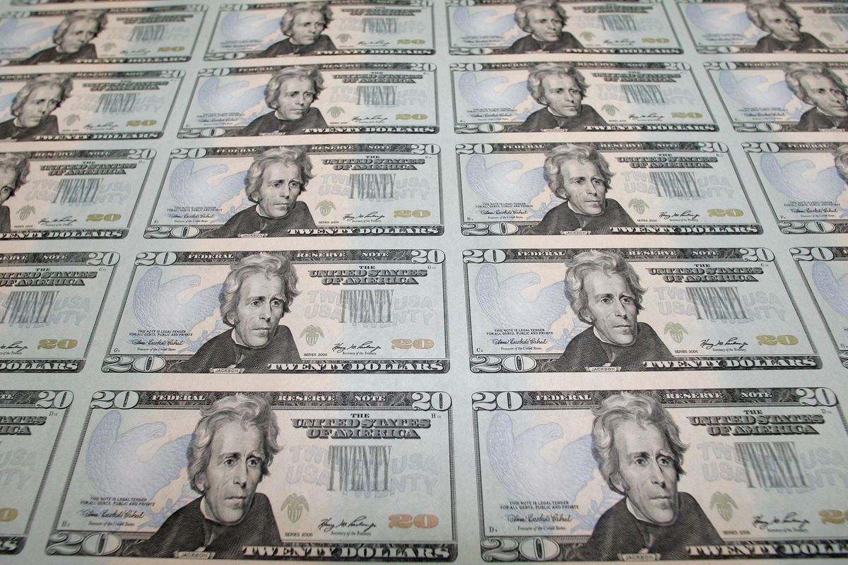 Currency notes being printed in Washington.