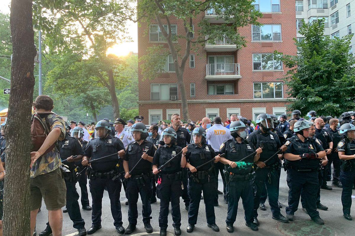 NYPD officers blocked the streets north of Washington Square Park during the Pride march, June. 27, 2021.