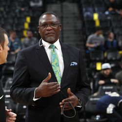 Atlanta Hawks announcer and NBA Hall of Famer Dominique Wilkins in the first half of an NBA basketball game Wednesday, Jan. 10, 2018. (AP Photo/David Zalubowski)