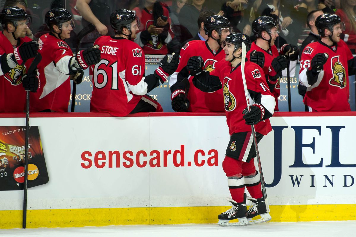 Shane Prince celebrates his first NHL point