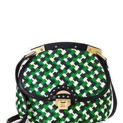 """<strong>Juicy Couture</strong> Geo Printed Jute Saddle Crossbody, <a href=""""http://www.juicycouture.com/Geo-Printed-Jute-Saddle-Crossbody/YHRU3395,default,pd.html?dwvar_YHRU3395_color=648&start=2&cgid=handbags-mini-bags-and-clutches#"""">$84.99</a> marked dow"""