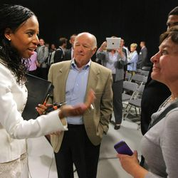 Mia Love talks with crowd members following a debate Tuesday, Oct. 14, 2014, with Doug Owens at the KUED studios in Salt Lake City. Love and Owens are running for the 4th District congressional seat.