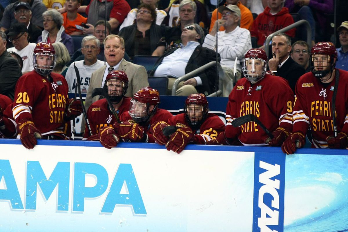 Ferris State head coach Bob Daniels behind his team's bench for the 2012 Frozen Four in Tampa.