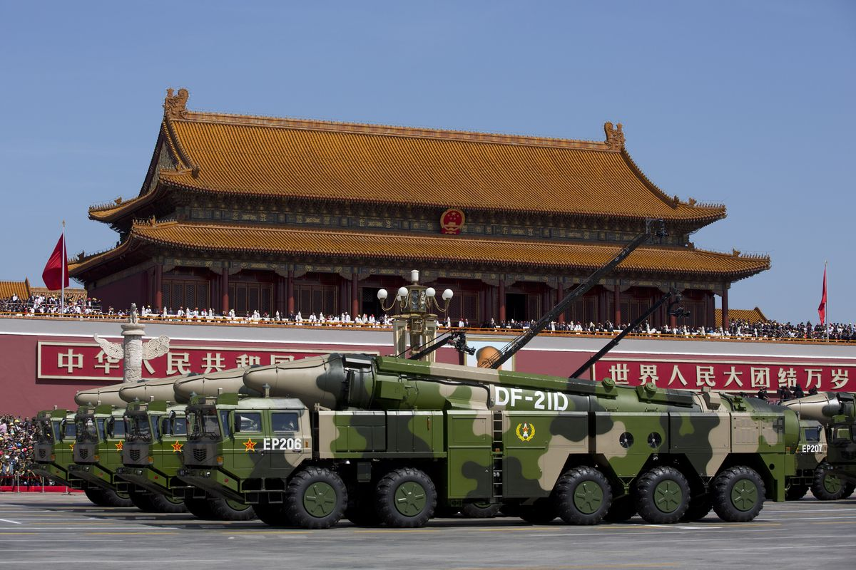 Chinese military vehicles carrying anti-ship ballistic missiles, potentially capable of sinking a US Nimitz-class aircraft carrier in a single strike on September 3, 2015.
