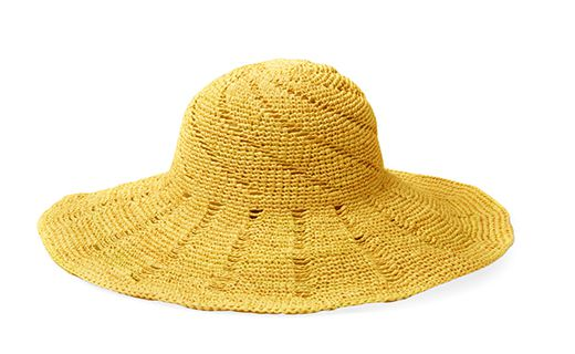 A yellow, crocheted floppy hat.