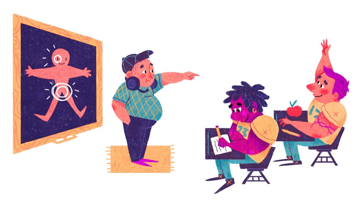 Illustration of a coach instructing his players to go for the groin and eyes on a blackboard.
