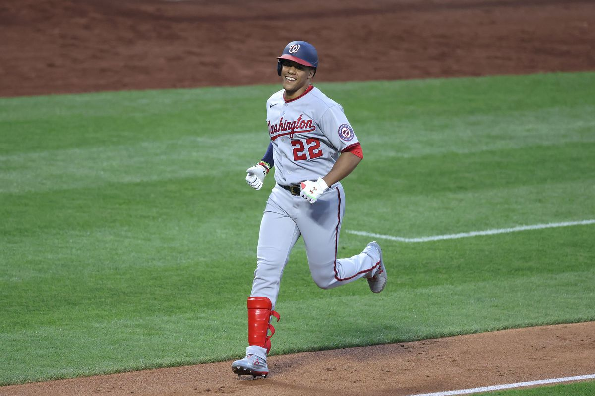 Juan Soto of the Washington Nationals rounds the bases after hitting a two run home run against Steven Matz of the New York Mets in the third inning during their game at Citi Field on August 10, 2020 in New York City.