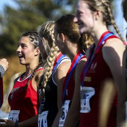 Grand County High School runner Kylah Ricks reacts as she is presented with her state championship medal after winning the 3A Girls State Cross-Country Championships at Highland High School in Salt Lake City on Wednesday, Oct. 23, 2019.