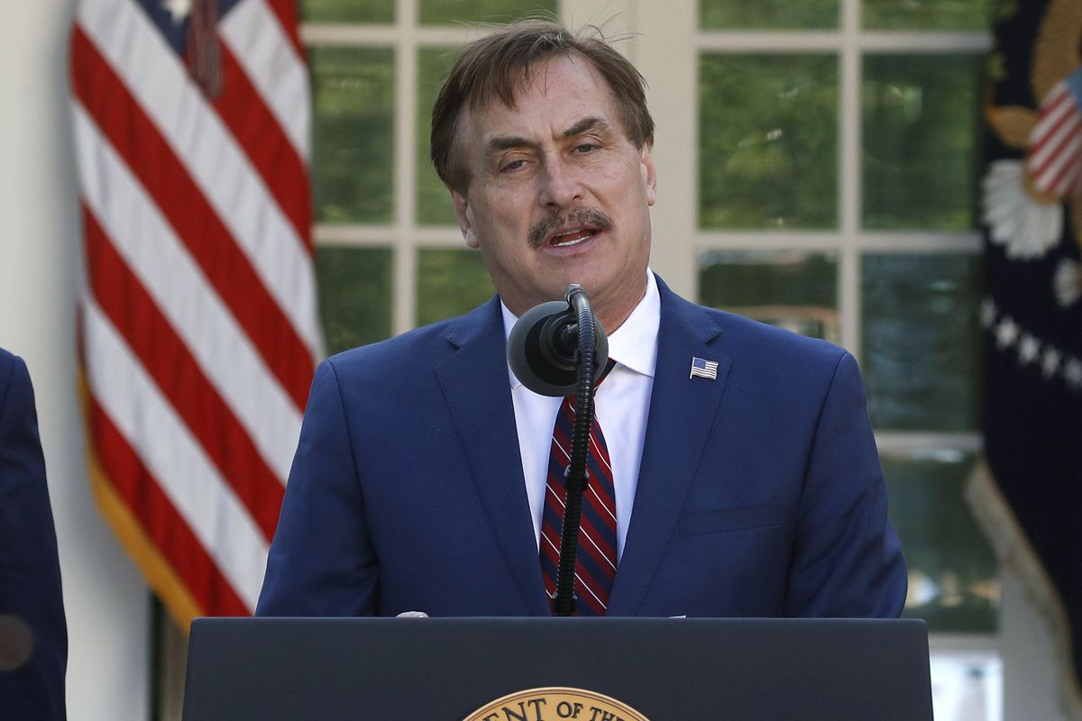 MyPillow CEO Mike Lindell speaks about the coronavirus in the Rose Garden of the White House in Washington, in 2020.