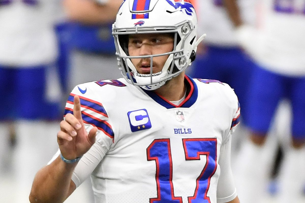 Quarterback Josh Allen of the Buffalo Bills calls a play against the Las Vegas Raiders at the line of scrimmage during the first half of the NFL game at Allegiant Stadium on October 4, 2020 in Las Vegas, Nevada. The Bills defeated the Raiders 30-23.