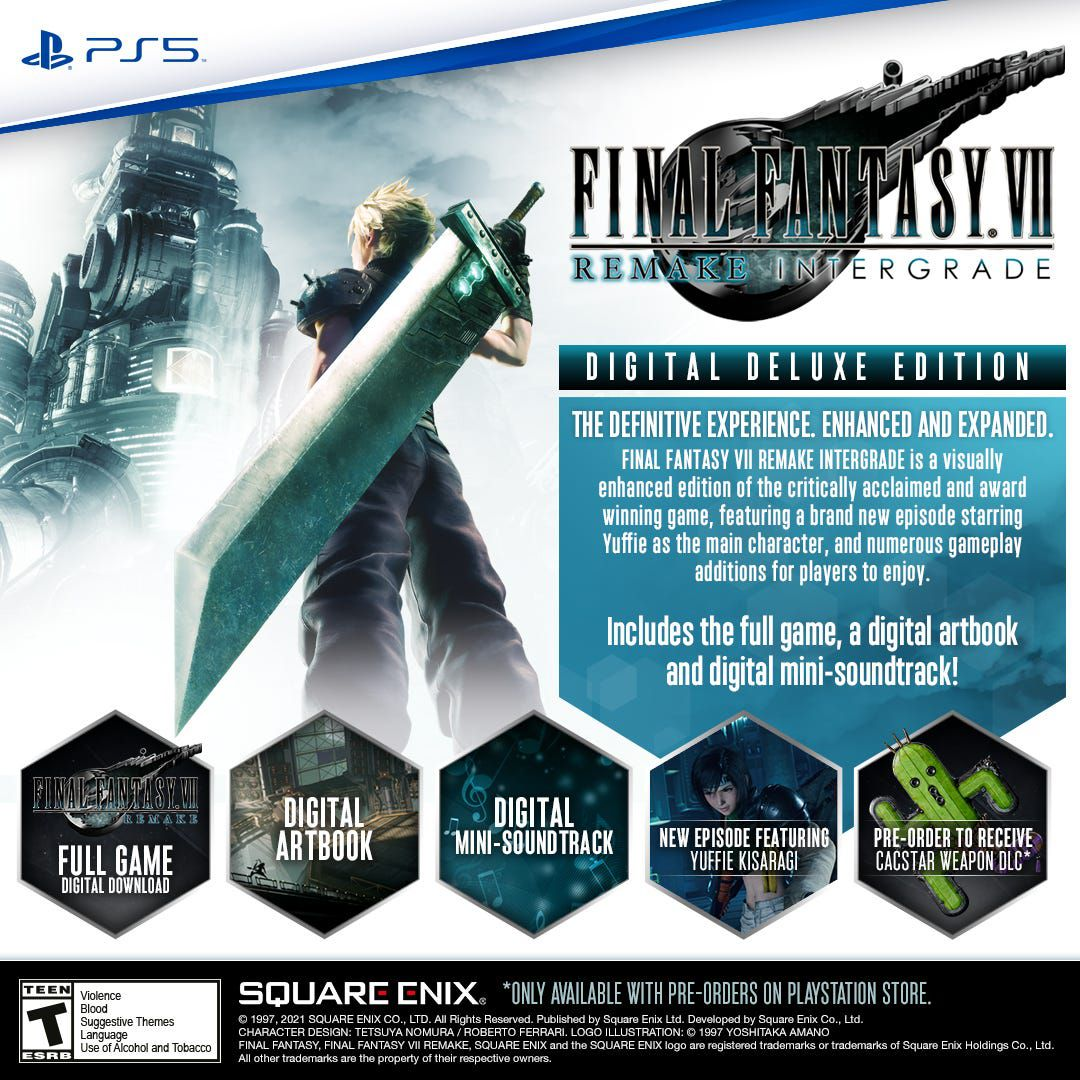 The details of the digital deluxe edition of Final Fantasy 7 Remake Intergrade