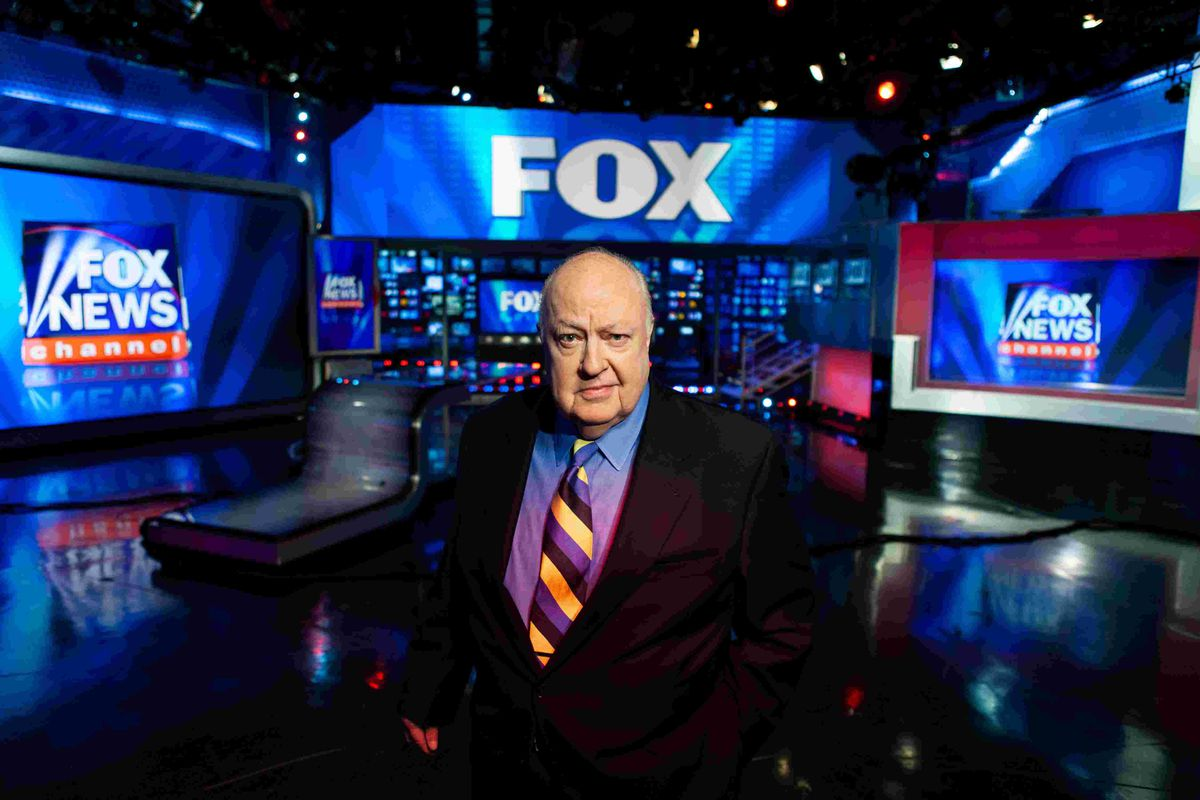 Roger Ailes on the set of Fox News, the empire he built.