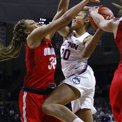 The Ohio State Buckeyes take on the UConn Huskies in a women's college basketball game at Gampel Pavilion in Storrs, CT on November 11, 2018