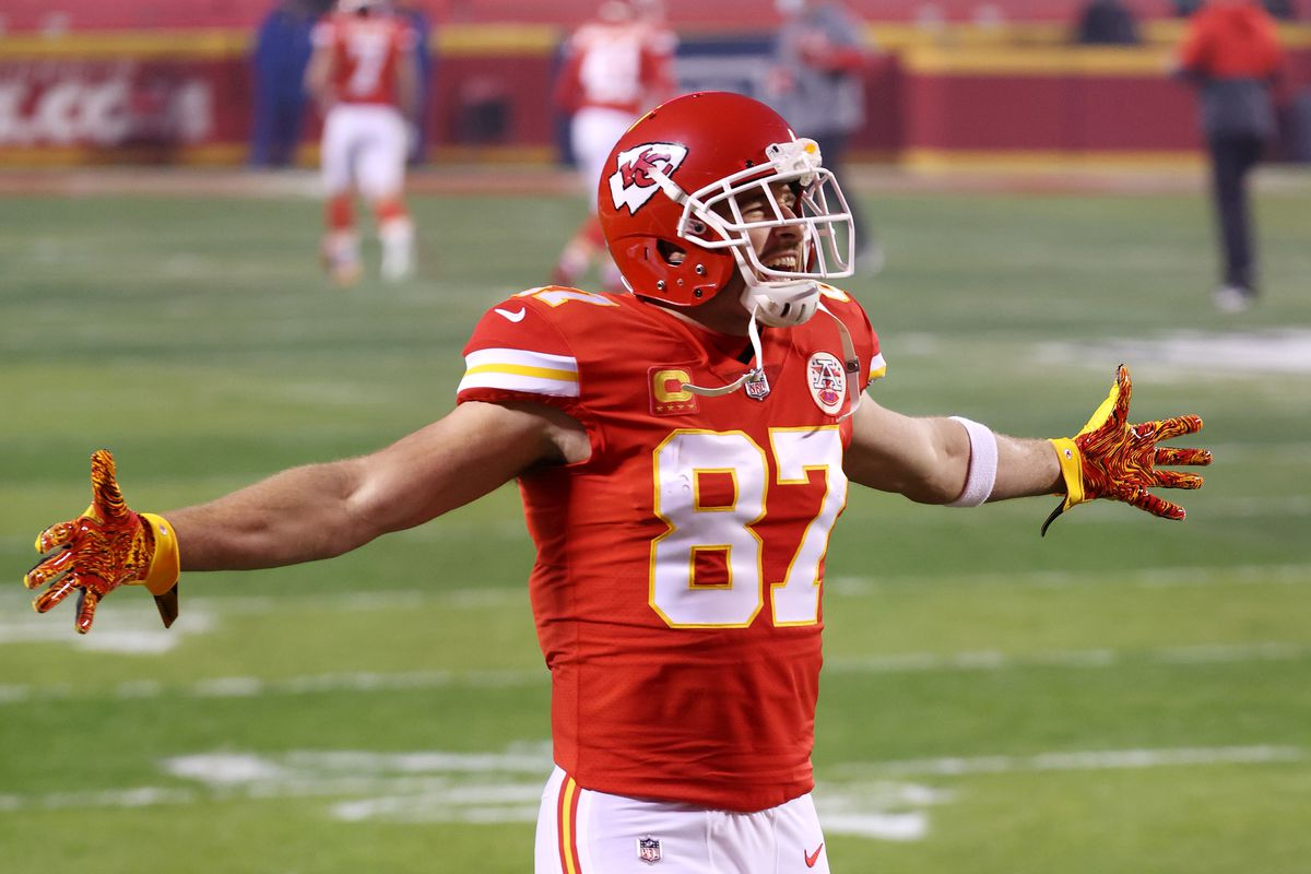 Travis Kelce #87 of the Kansas City Chiefs reacts before the AFC Championship game against the Buffalo Bills at Arrowhead Stadium on January 24, 2021 in Kansas City, Missouri.