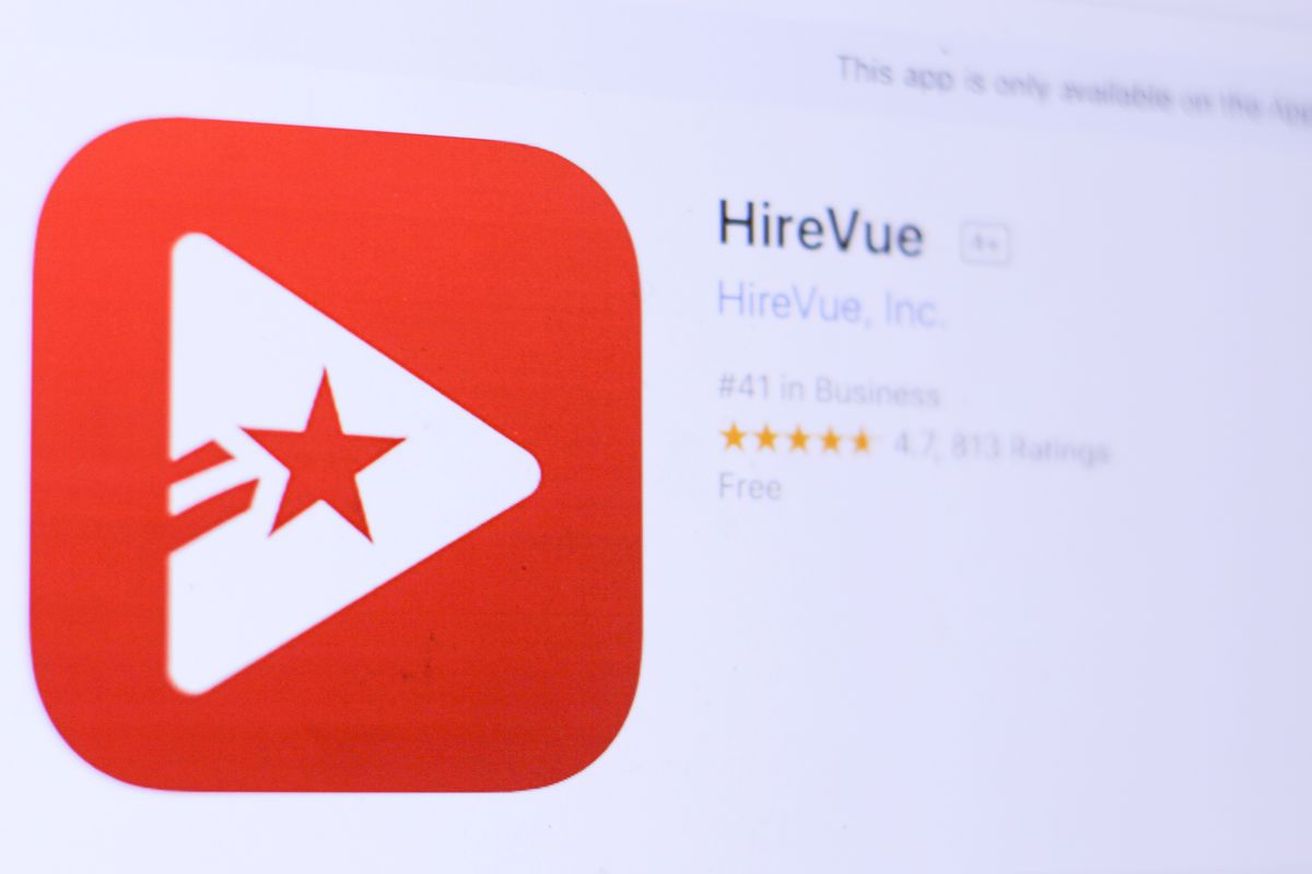 An image of the HireVue app in a digital App Store.