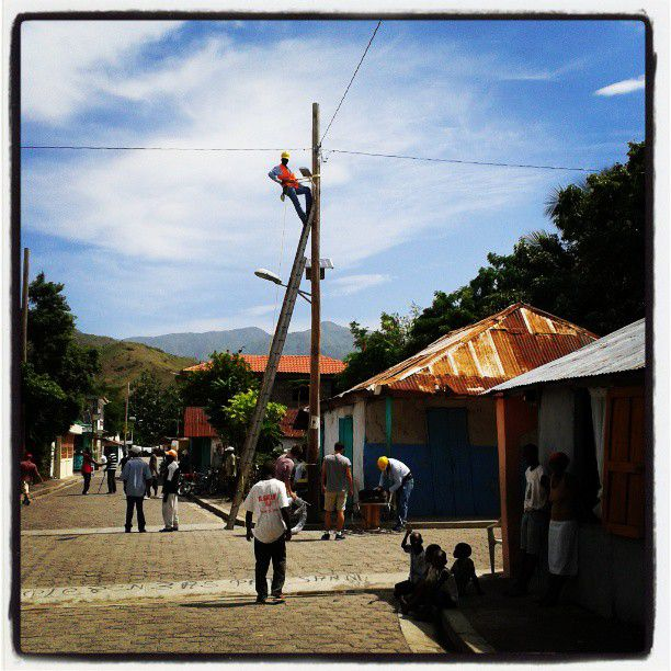 Hanging electrical lines in Les Anglais, Haiti.