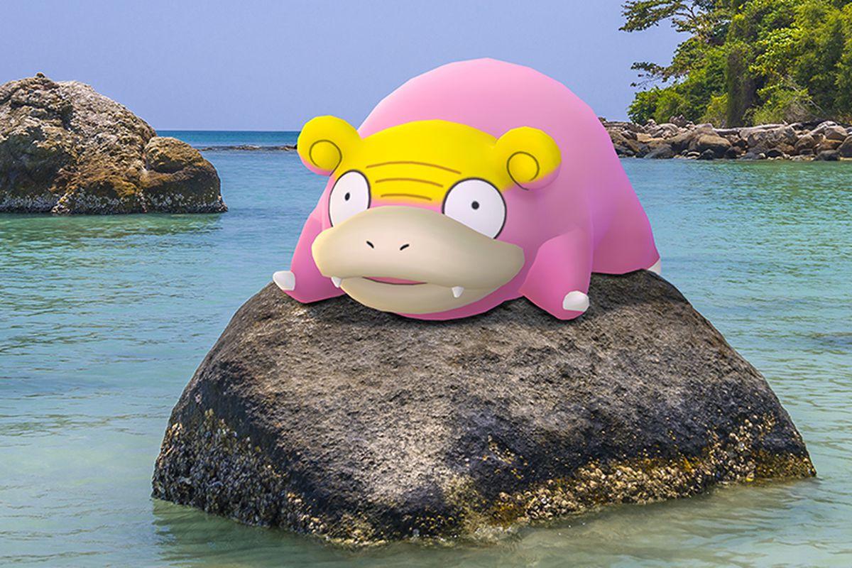 A Galarian Slowpoke sits on a rock