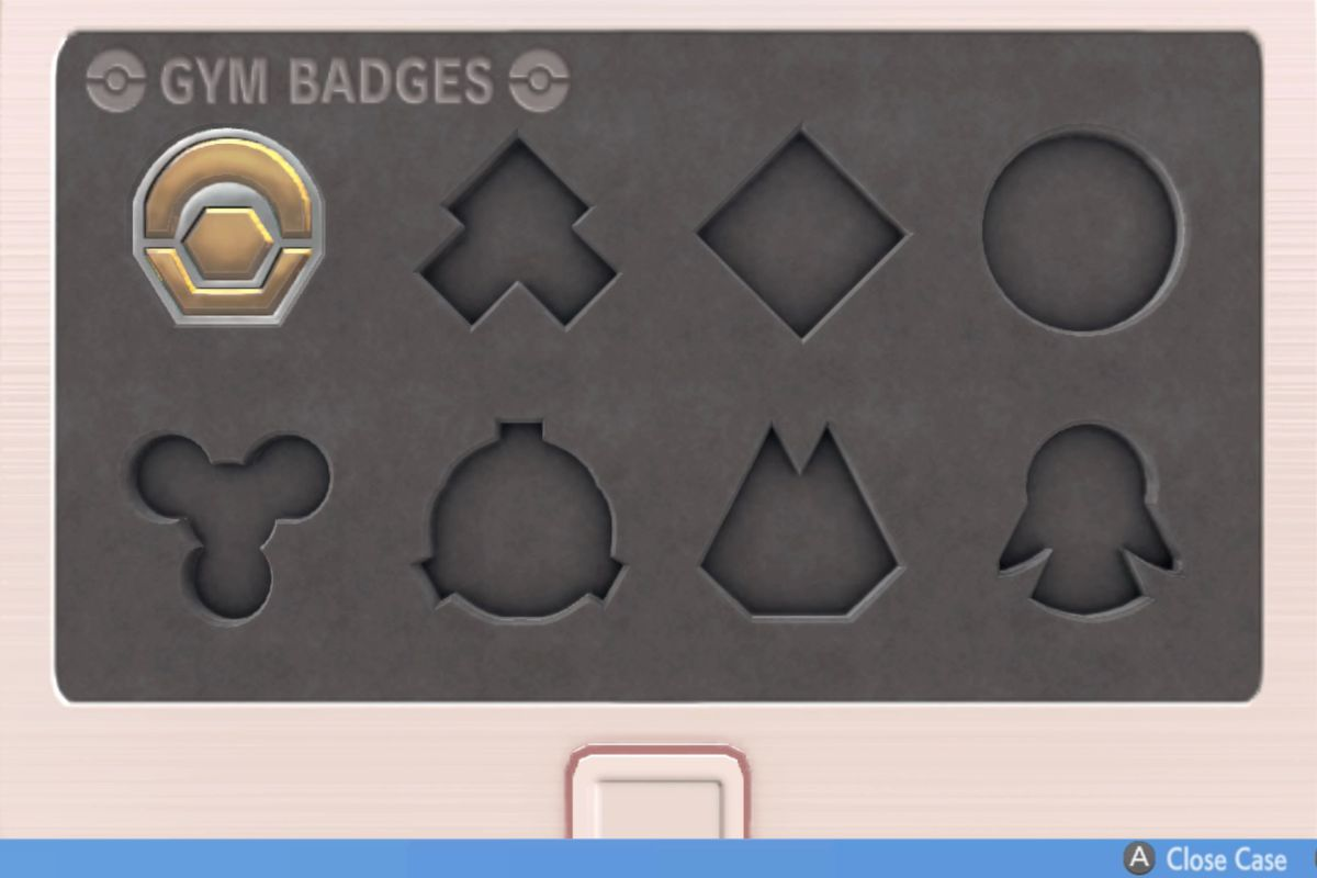 an image of a case that holds badges from Pokemon Brilliant Diamond and Shining Pearl. in it, only one of the badge spots is open.
