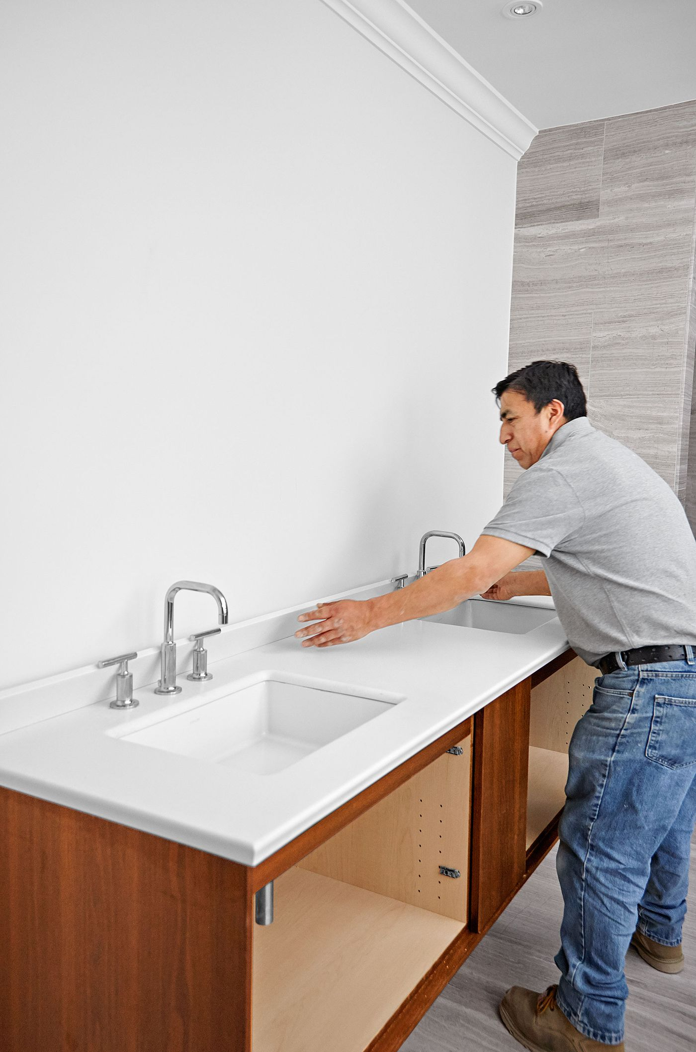 How To Install A Wall Mount Vanity And Sinks This Old House