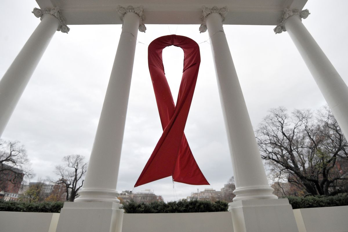 An HIV/AIDS symbol hangs on the North Lawn of the White House on December 1, 2010, during World AIDS Day.