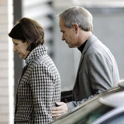 Ed and Lois Smart arrive at court for the Brian David Mitchell trial on Tuesday.