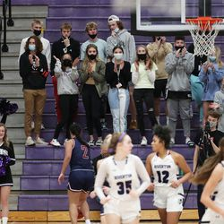 Students cheer during the game between Herriman and Riverton in Riverton on Thursday, Jan. 28, 2021.