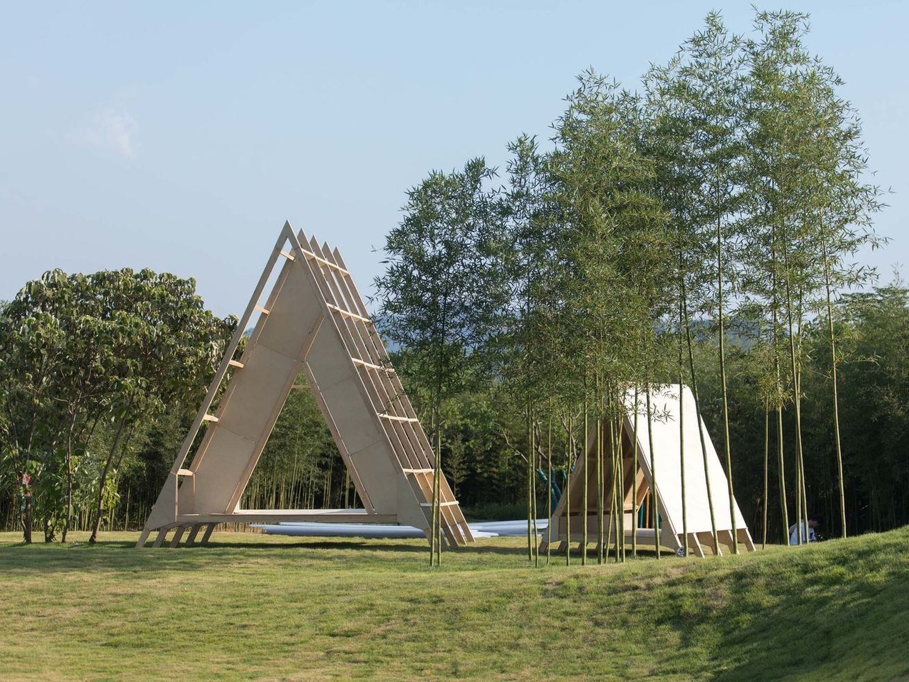 These A-frame cabins were built with help from kids