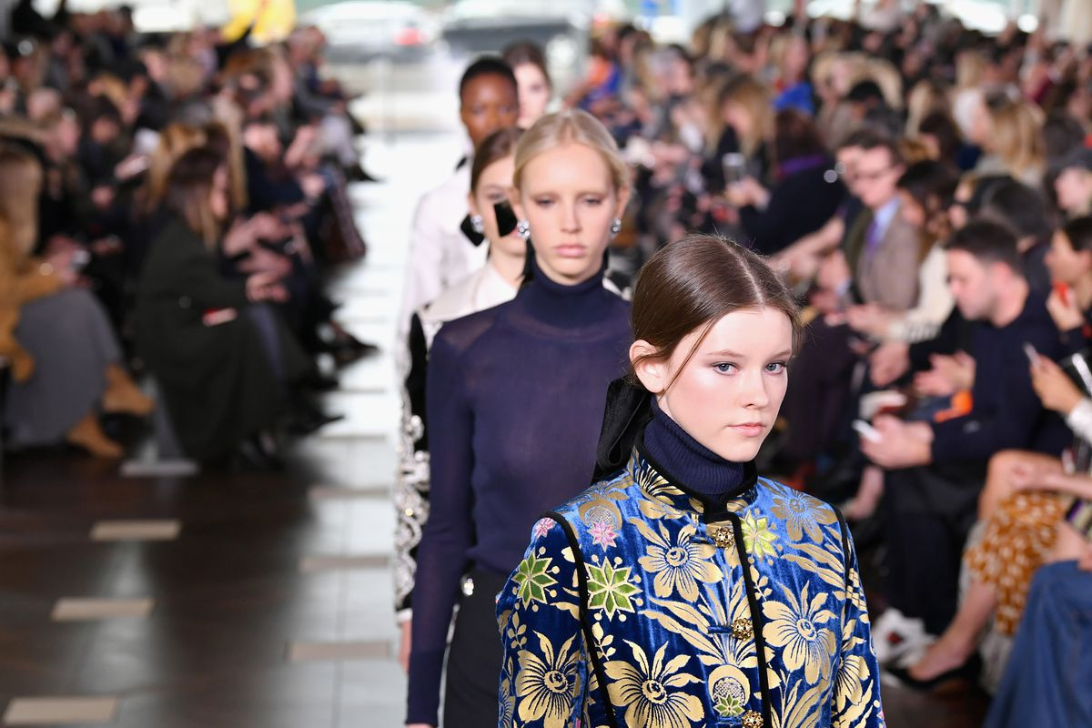 Models walk the runway at the Tory Burch FW17 Show during New York Fashion Week at the Whitney Museum of American Art on February 14, 2017 in New York City.