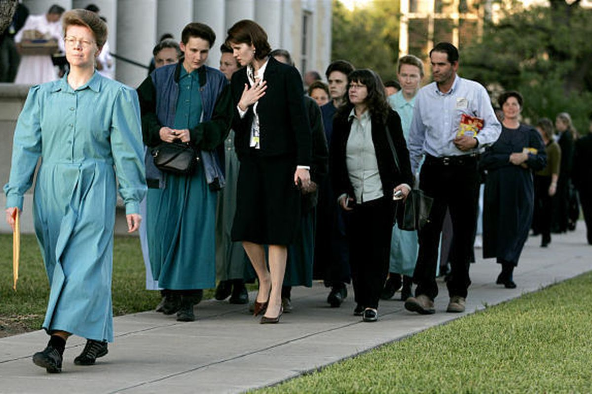 FLDS women walk out of the Tom Green County Court House after Judge Barbara Walther made the ruling for the state to keep custody of 416 children taken from Yearning for Zion Ranch.