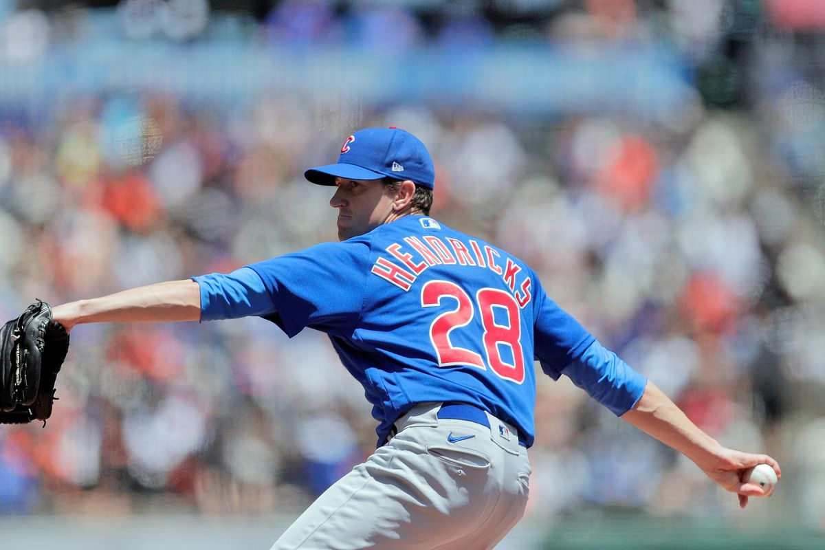 Kyle Hendricks (28) pitches for the Cubs in the first inning as the San Francsico Giants played the Chicago Cubs at Oracle Park in San Francisco, Calif., on Sunday, June 6, 2021.