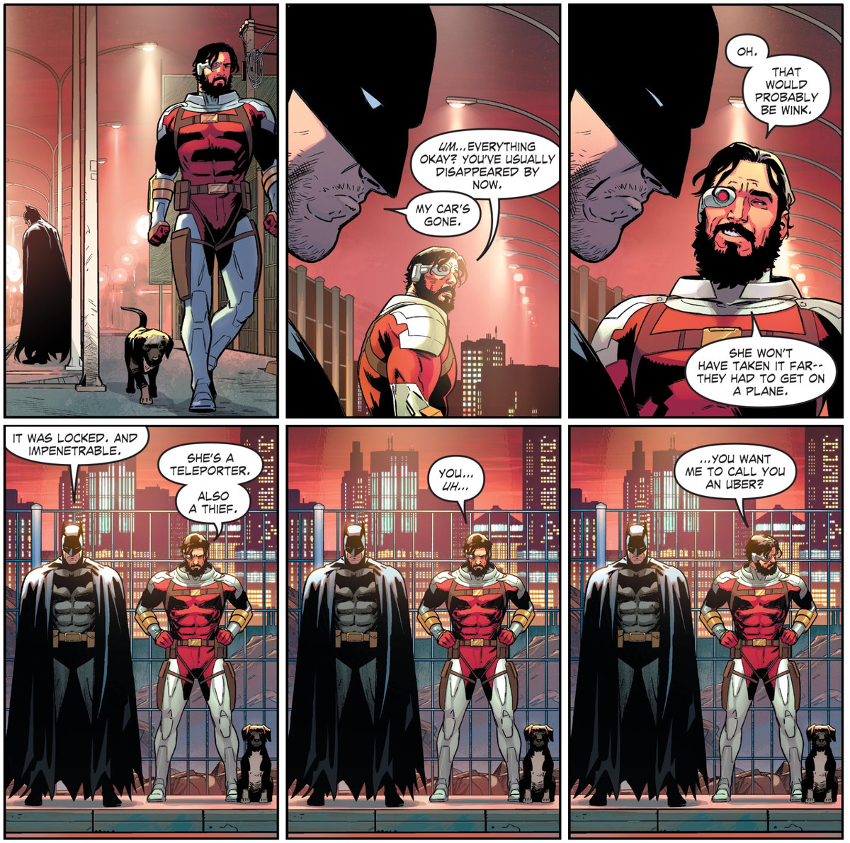 """Deadshots former Suicide Squad coworkers have stolen the Batmobile. """"You... uh..."""" he says to Batman, """"You want me to call you an Uber?"""" in Sucide Squad #6, DC Comics (2020)."""