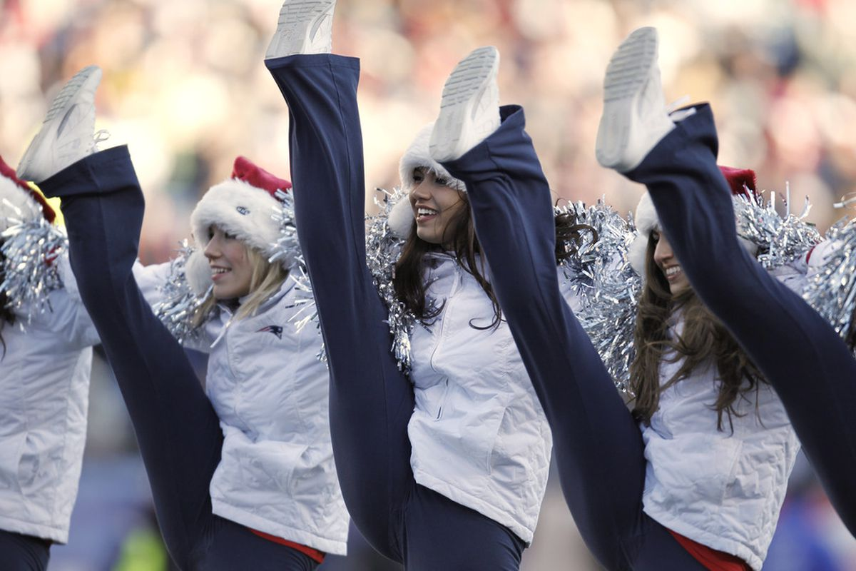 FOXBORO, MA - DECEMBER 24: New England Patriots cheerleaders perform during the second quarter of a game against the Miami Dolphins at Gillette Stadium on December 24, 2011 in Foxboro, Massachusetts.  (Photo by Winslow Townson/Getty Images)