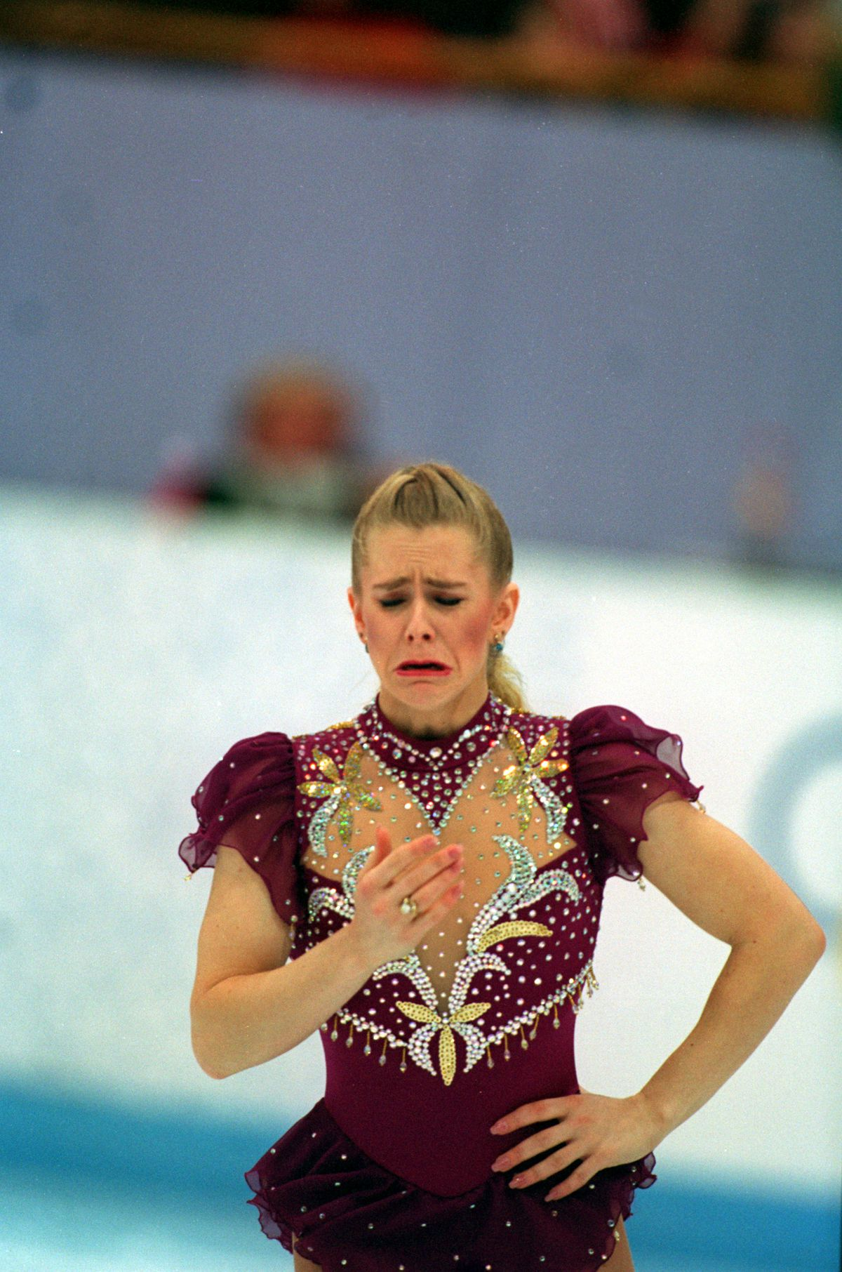 Tonya Harding leaves the ice in tears during the Winter Olympics