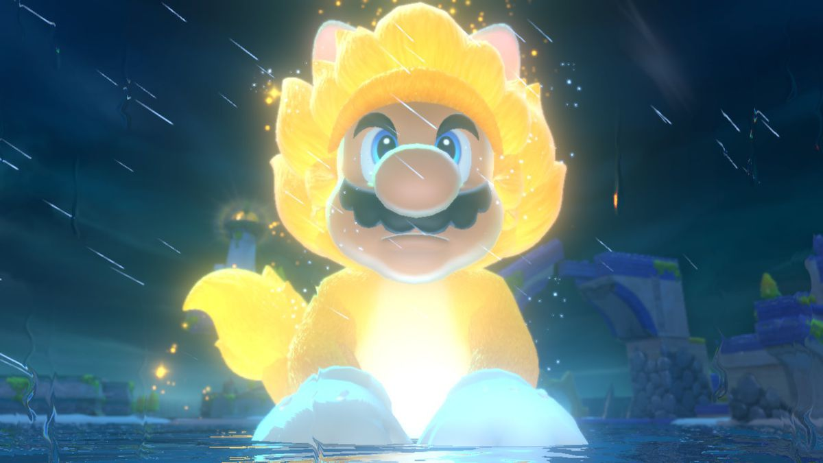 A kaiju-sized Mario wears his golden cat suit in the rain. He looks sort of like he's gone Super Saiyan.