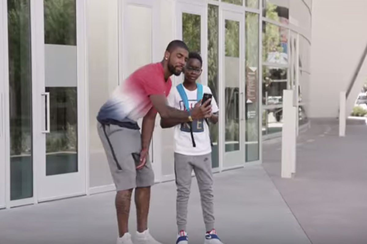 3f2afb0fd1bc Watch  Face-Swap goes wrong for Kyrie Irving in Kids Foot Locker Ad ...