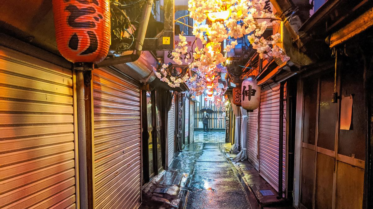 A slim alleyway, lit by hanging paper lanterns, where restaurants are closed behind steel shutters