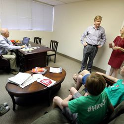 Jonathan Johnson talks with his running partner, Robyn Bagley, in their campaign headquarters as they wait to see voting results on Tuesday, June 28, 2016. Johnson lost his primary challenge to Gov. Gary Herbert.