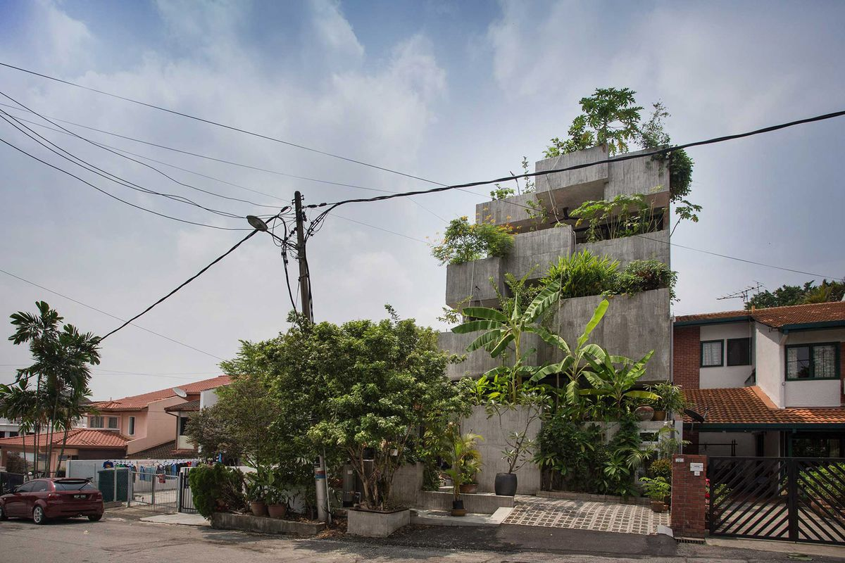 Concrete house with plants on facade