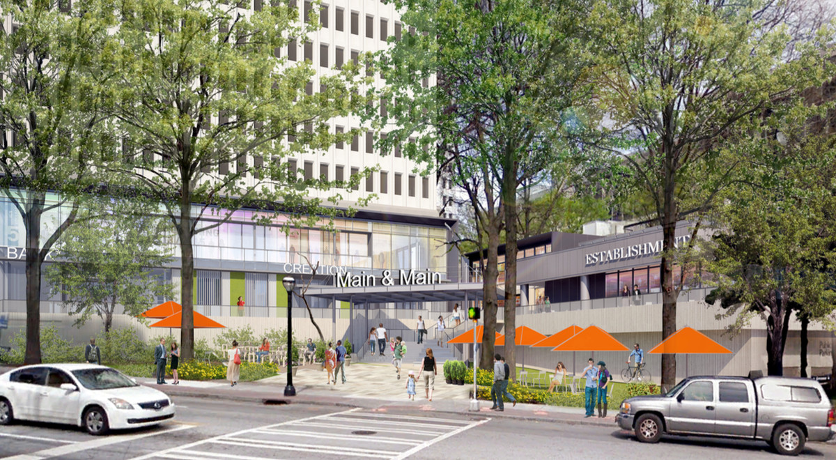 """A new entrance along 14th Street into Colony Square with a sign """"Main & Main."""""""