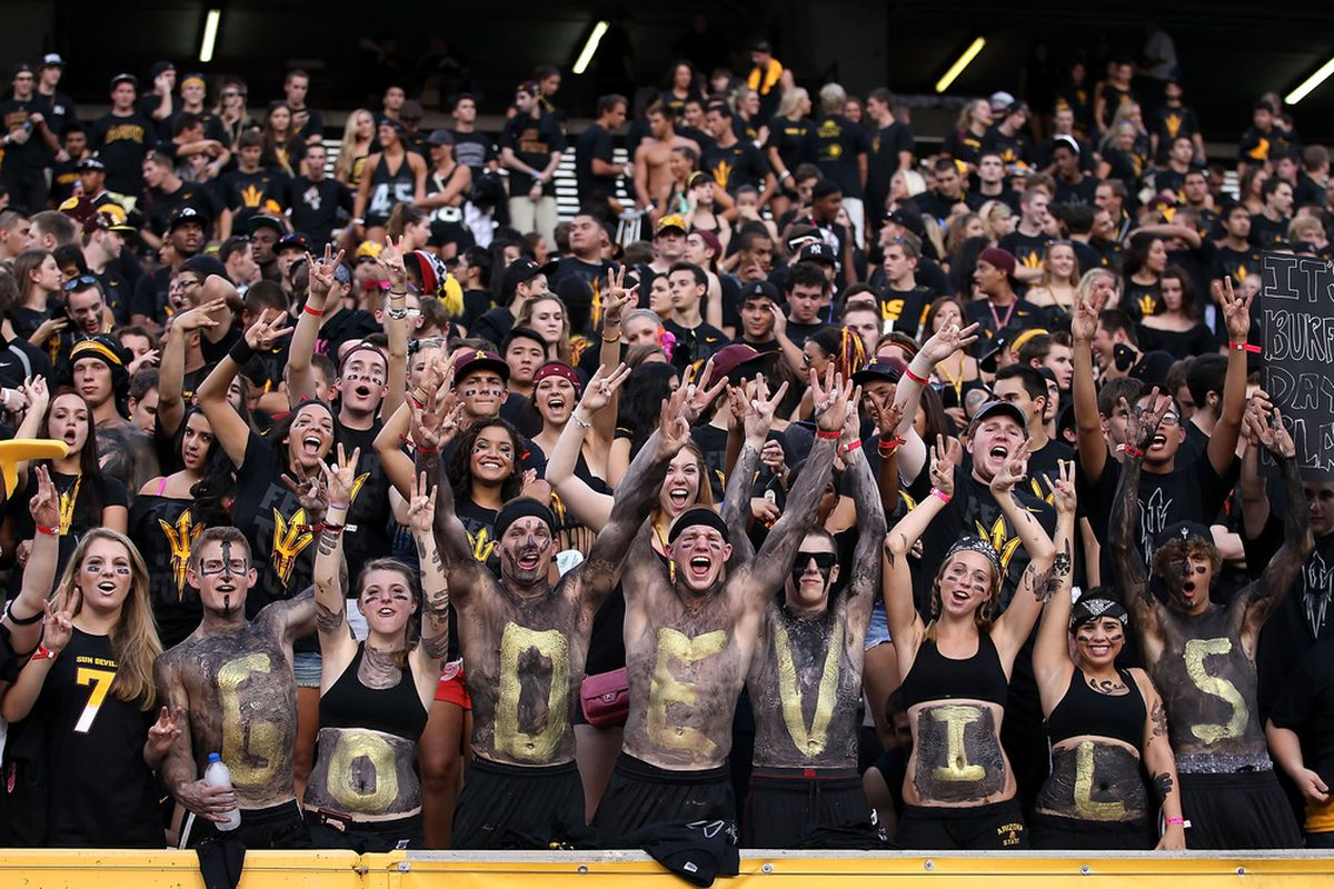 TEMPE, AZ - SEPTEMBER 09:  Fans of the Arizona State Sun Devils cheer before the college football game against the Missouri Tigers at Sun Devil Stadium on September 9, 2011 in Tempe, Arizona.  (Photo by Christian Petersen/Getty Images)