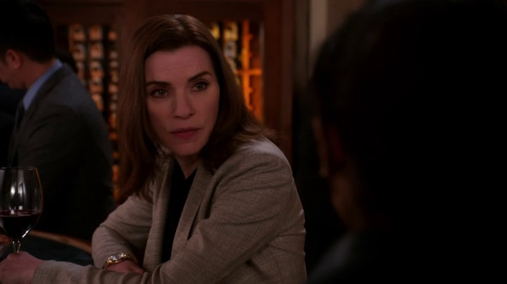 Alicia looks at Kalinda on The Good Wife.
