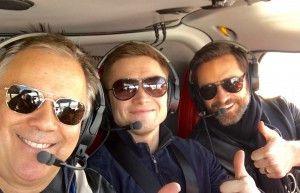 Richard Roeper (from left), Taran Egerton and Hugh Jackman enjoy the ride.   Jesse Goddard/For the Sun-Times