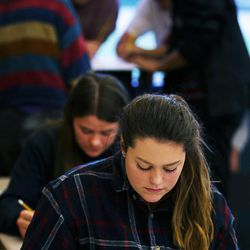 Student Signe Lindquist studies for a test in Syd Lott's IB Economics class at Skyline High School in Salt Lake City, Tuesday, Oct. 20, 2015.